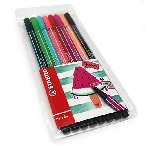 (STABILO Pen 68 Fibre Tip Fineliner - 1.0mm - Watermelon Set - Wallet of 8 Assorted Colours)