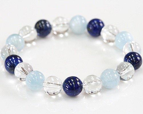 アクアマリン ラピスラズリ 水晶 ブレスレット 天然石 パワーストーン 数珠 誕生石 開運 B00862CCSW