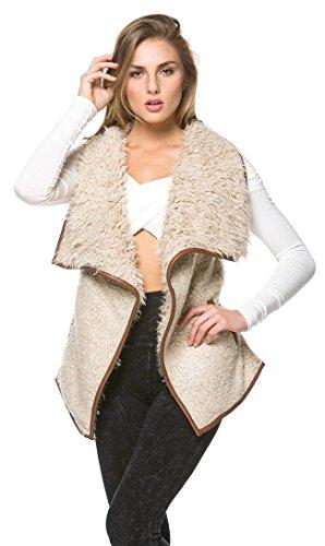 Draped Sleeveless Faux Fur Wool Vest in Tan Tan Leather Vest