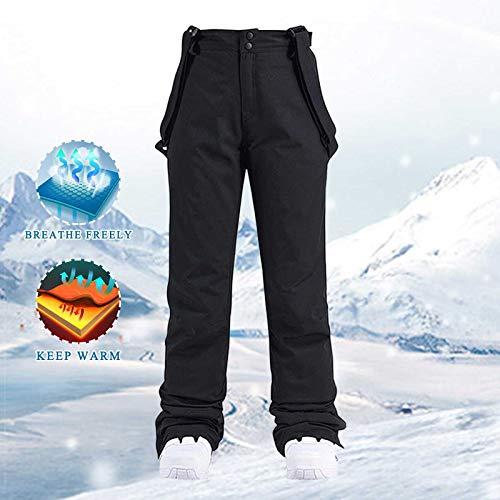 Women Insulated Bib,Overalls,One Piece Suspender Pants Ski Pants Solid Color Pocket One Piece Suspenders(Black-1,XL)