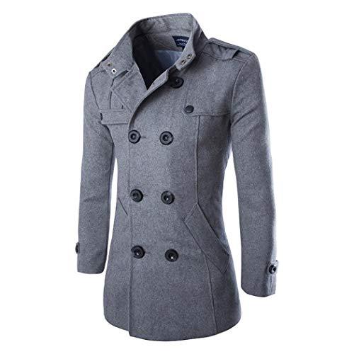 Winter Slim Double Breasted Pea Coat, Windproof Trench Coat Jacket Outwear with Pockets, Fleece Jacket Overcoat Wool Walker Coat for Men Boys (Grey,Large) ()