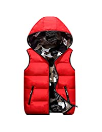 Kids Hooded Gilets Down Vest Reversible Jacket Sleeveless Camouflage Winter Coat