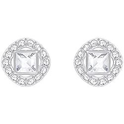 Rhodium-Plated White Angelic Square Crystal Earrings