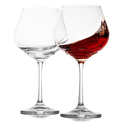 Crystalex Large Stem Red Wine Crystal Glasses Set of 2 - Long Stem, Huge and Aerating, for, Bordeaux, Best Friend, 19.2 Ounces / 570 Milliliters