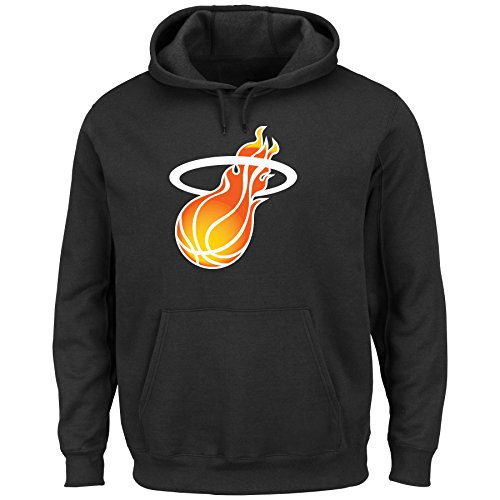 NBA Miami Heat Hardwood Men's Twill Based Tek Patch Fleece, Black, X-Large (Black Tek Patch Hooded Sweatshirt)