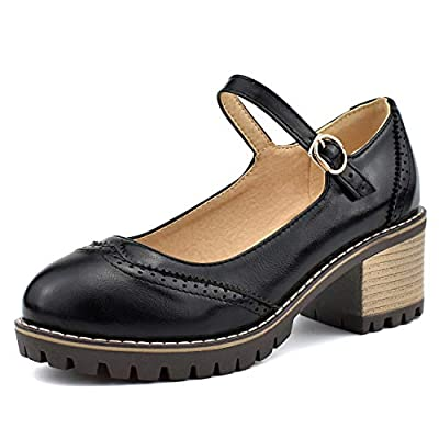 100FIXEO Women Block Heel Ankle Strap Mary Jane Shoes Oxford Pumps | Pumps