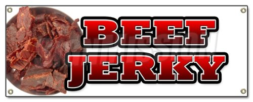 Beef Jerky Banner Sign Meat Dried Spices dehydrated Salted Smoked