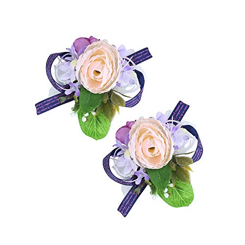 (Febou Wrist Corsage Pack of 2 Wedding Bridal Wrist Flower Wristband Hand Flower for Bride Bridesmaid Perfect for Wedding, Prom, Party (Wrist Flower, A-Champagne))
