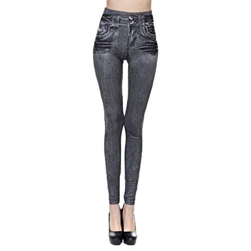 Gris Denim Legging Jeans Poche Fonc Slim Femme en Pantalon Krastal avec Fitness Plus Taille Rqwz7gWx