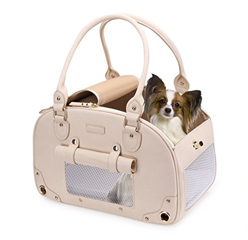 Dog Carrier, Pet Carrier, PetsHome Waterproof Premium Leather Pet Travel Portable Bag Carrier for Cat and Small Dog Home & Outdoor Beige