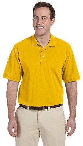 Harriton Men's 5.6 Oz. Easy Blend Polo, Large, Sunray Yellow - Harriton Mens Easy Blend