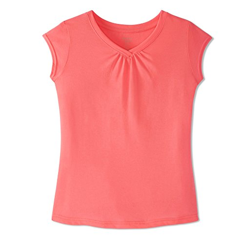 French Toast Girls' Little Short Sleeve V-Neck T-Shirt Tee, Electric Pink, 6X