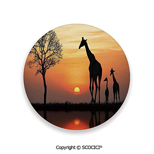- Ceramic Coaster With Cork Mat on the back side, Tabletop Protection for Any Table Type, round coaster,Wildlife Decor,Giraffes on Bushes by Lake Surface Horizon,3.9
