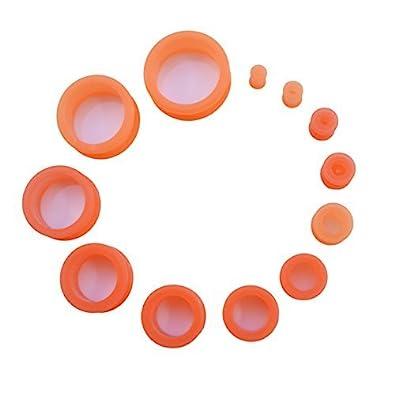 Dilatadores de oreja en silicona flexible - Varios tamaños y colores - Naranja, A, Escoja el deseado, Silicona: Amazon.es: Joyería