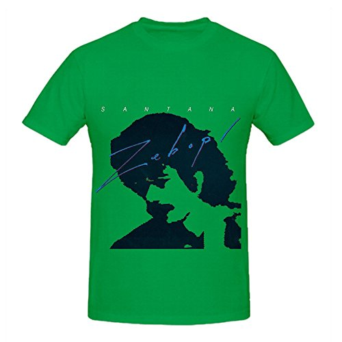 Santana Zebop Electronica Men Round Neck Casual Tee Green (Tangled Fancy Dress)