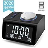 【Upgraded】Digital Alarm Clock, with FM Radio, Dual USB Charging Ports, Temperature Detect, Dual Alarms, Snooze, 5-Level Brightness Dimmer, Batteries Operated, for Bedroom, Small Sleep Timer