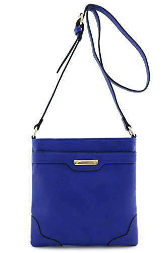 Women's Fashion Medium Size Crossbody Bag with Gold Plate Blue (Blue Leather Handbags)