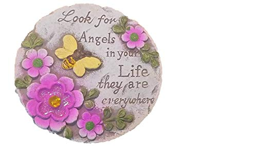 Round Decorative Stepping Stone with Inspirational Sayings for Outdoor Garden (Look for Angels)
