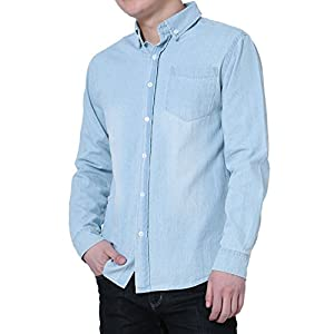 uxcell Men Long Sleeves Washed Denim Button Down Casual Shirt
