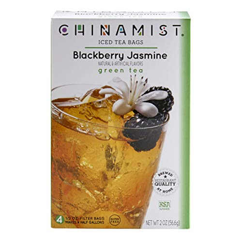China Mist - Blackberry Jasmine Green Iced Tea Bags -Each Tea Bag Yields 1/2 Gallon