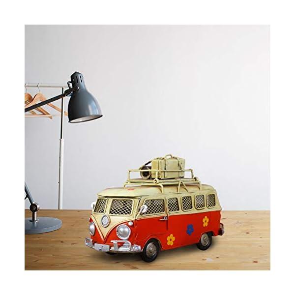 414MqonLrrL VOSAREA Eisen Sparschwein Vintage Zinn Bus Kindheit Speicher Metall Kunst Geschenk Home Decoration (rot)