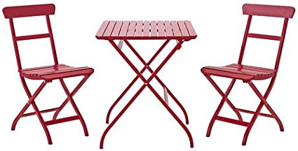 Ikea mälarö – Mesa + 2 sillas, Exterior, Rojo – 60 x 60 x 220 ...
