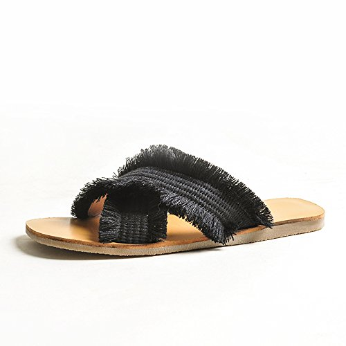 nette incrociato sandali con nero rosse 39 2018 alla da estivo piatte DYY moda intreccio indossare Pantofole scarpe 7Swx71Ez