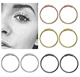 YHmall Steel Hinged Clicker Seamless Piercing Nose Ring Hoop Lip Ear Ring-8mm