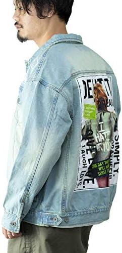 デニムジャケット メンズ ビッグシルエット オーバーサイズ ロゴプリント ガールプリント ユーズド加工 ウォッシュ加工 Gジャン トラッカージャケット トラッカーブルゾン ブルゾン 韓国系 ストリート お洒落