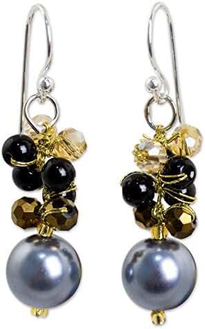 NOVICA Onyx Silver Plated Beaded Hook Earrings 'Full Moon in Grey'