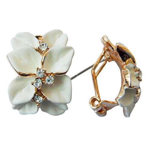 Navachi 18k Gold Plated Crystal White Enamel Leaves Flower Az1147o Omega Earrings