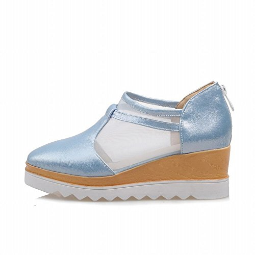 Zipper Platform Charm Mesh Foot Fashion Sandals Wedge Womens Blue wzAIAq