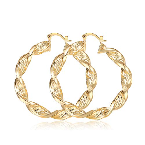 Moocai Fashion Big Circle Punk Great Wall Pattern Hoop Earrings Twisted Gold Color for Women 40-60mm (50 ()