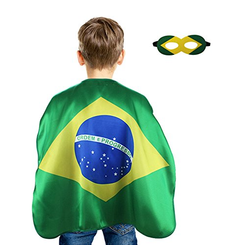 HADM Children's Flag Capes Dress Up Costumes with Felt Masks American for Boys Girls Sports Event Halloween Party ()