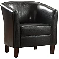 Poundex F1510 Bobkona Denzil Faux Leather Club Chair, Black