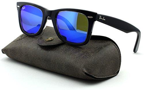 Ray-Ban RB2140 Wayfarer Unisex Square Mirror Sunglasses (Blue Gradient On Light Blue Frame, Mirror Blue Lens 120368) - Blue Rb2140