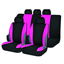 Pink Car Seat Covers Set Airbag Universal Fit Trucks,Jeep,SUV Soft Cloth New Arrival ACSC1609-11pcs (Pink)