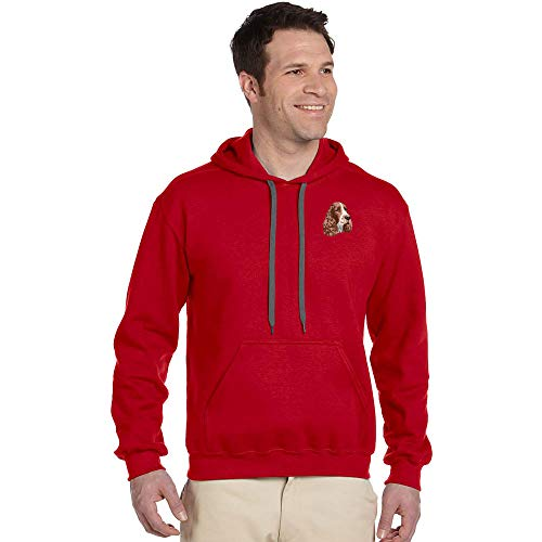 Cherrybrook Breed Embroidered Mens Gildan Pullover Hoodie - Large - Red - English Springer Spaniel