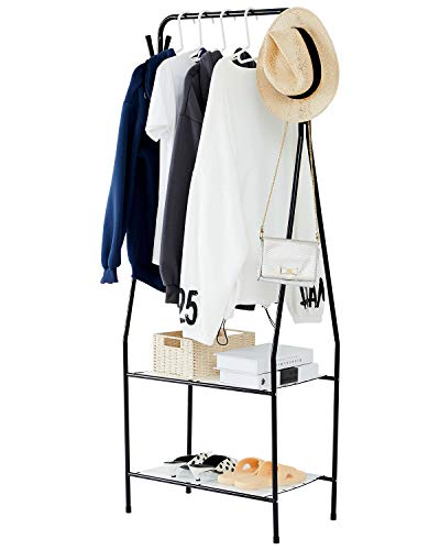 YOUDENOVA Clothing Rack with 2 Tier Metal Shelf, Small Space Entryway Coat Rack and Storage Bench with 4 Hooks, College Dorm Kids Room Bedroom Small Corner