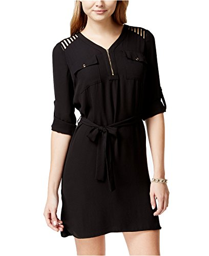 XOXO Juniors' Lattice-Cutout Half-Zip shirtdress (Black, M)