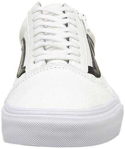 ... (Premium Leather) True White Vans Old Skool Zip Shoes ...