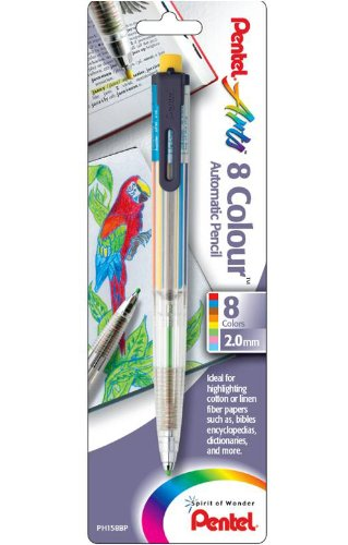 Pentel Arts 8 Colour Automatic Pencil, Assorted Accent Clip Colors, 1 Pack (PH158BP) by Pentel (Image #1)