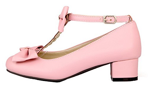 Round Buckle Pumps Shoes Low Toe PU Heels AllhqFashion Pink Solid Women's qZnW80ZwXz
