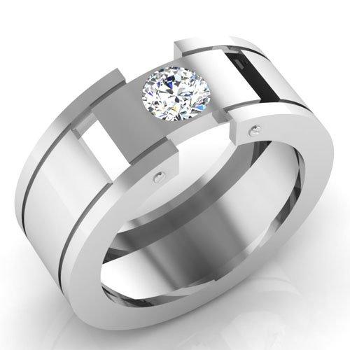 0,66 Ct redonda natural diamond anillos de boda para hombre sólido 14 K oro