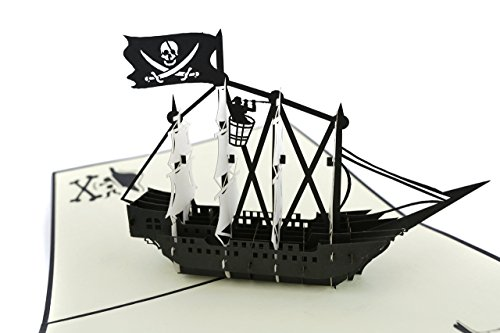 Pop Up Pirate Ship - PopLife Black Pirate Father's Day Ship Pop Up Card for All Occasions- Father's Day, Happy Birthday, Graduation, Retirement, Anniversary, Treasure Hunters, Pirates, Ocean Lovers, Folds Flat for Mailing