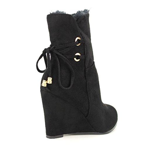 Noire Bottine Stephan Femme Cendriyon Noir Compensée Chaussures g4qnEB8