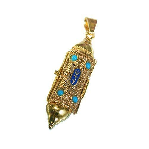 Baltinester Jewish Jewelry 14k Gold Filigree Blue Enamel Turquoise Torah Scroll Mezuzah Necklace Pendant
