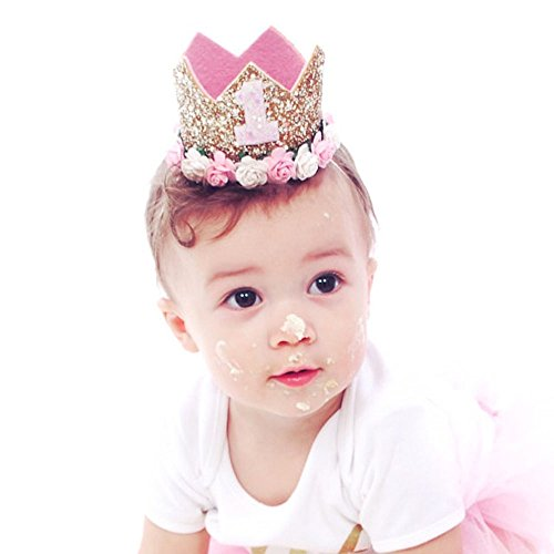 First Birthday Crown Baby Girl Flower Tiara Headband Party Hat Hairband (Boys 1st Birthday Party Hat)