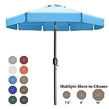 ABCCANOPY 7.5' Outdoor Garden Table Umbrella Patio Umbrella Market Umbrella with Push Button Tilt for Garden, Deck, Backyard and Pool, 8 Ribs 13+Colors,Turquoise