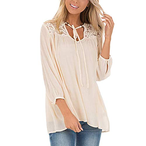 Alonea Women's Round Neck Long Sleeve T Shirt O Neck Cotton Soft Loose Blouse Buttoned Lace Tops Beige